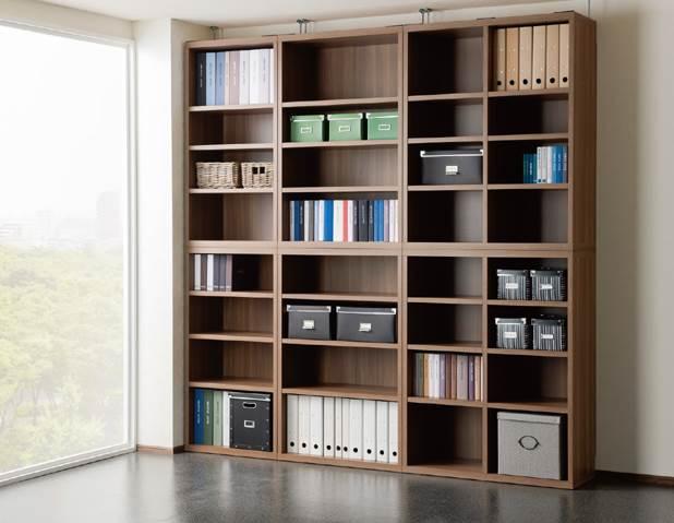 オープンシェルフを組み合わせて全て見せる収納の設置例です。
